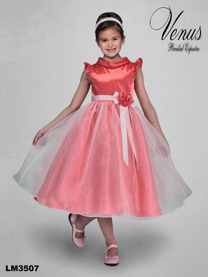 Precioso y colorido vestido con falda de tul transparente para niñas ...