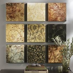 DIY:   How to Create Inexpensive Wall Art - using craft store canvases and scrapbook or decorative paper and Mod Podge - Visual Obsessions: Wall Jewelry