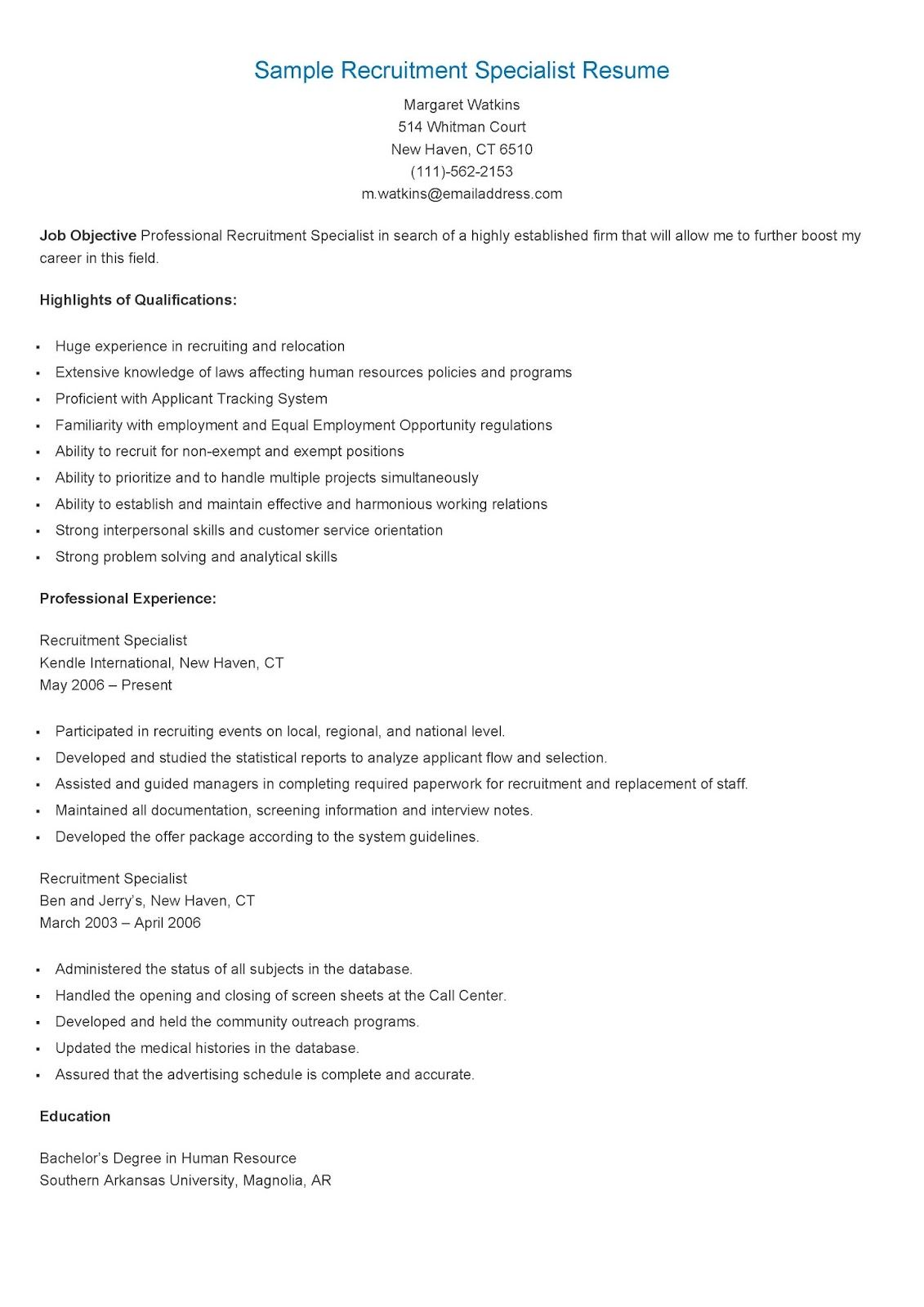 sample recruitment specialist resume resame pinterest resume