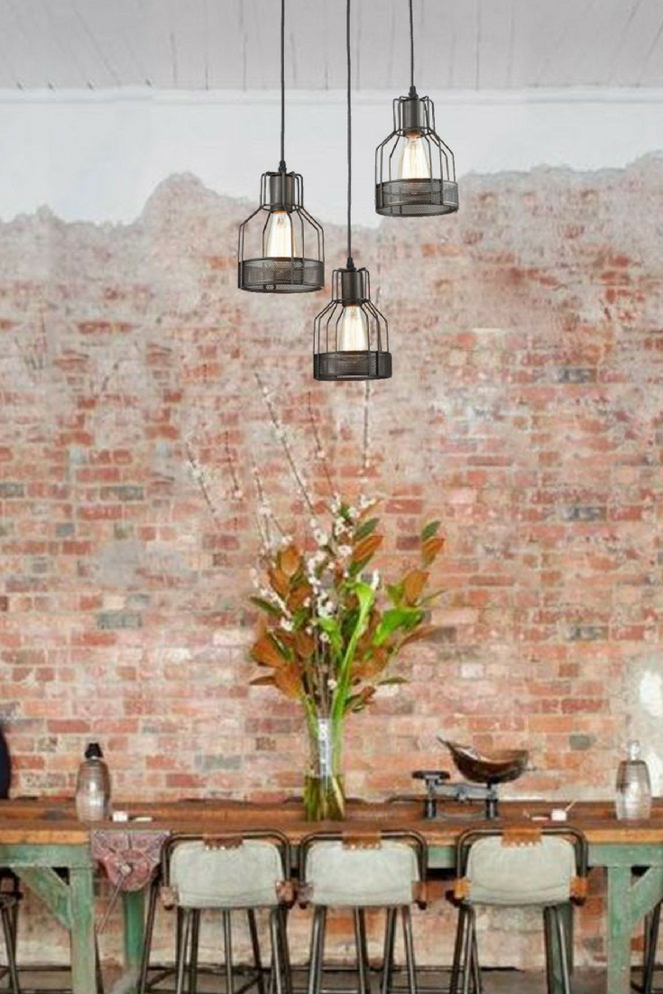 Industrial 3 Light Dining Room Pendant Rustic Oil Rubbed