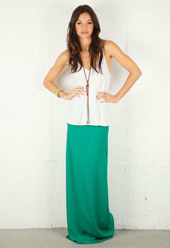 Alexis Parker Long Skirt With Side Slit in Green