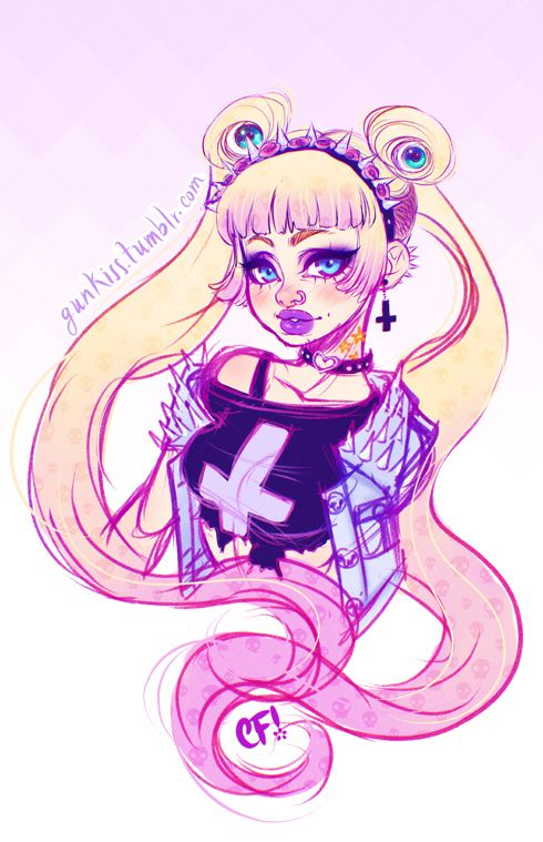 Pastel Goth Usagi (without glasses and with glasses) I've seen so many Sailor Moon redesigns and I specially liked the punk and goth ones a lot and I've been into Pastel Goth and Mori fashion a lot so I chose one for this. First drawing for myself I do in weeeeeeeeks..maybe more than a month, I needed this break. Back to work..or maybe sleep hmmm