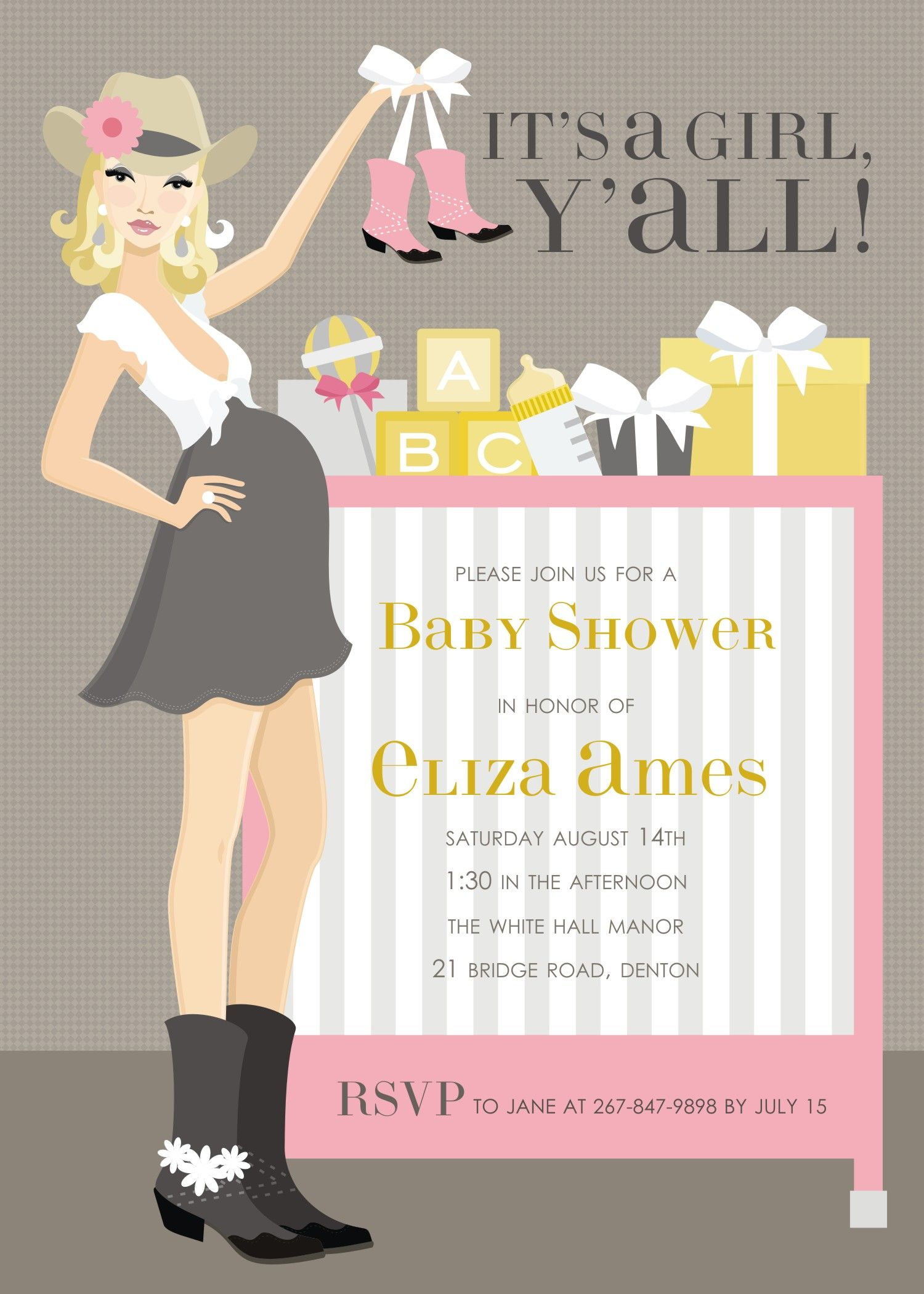 Cowgirl Crib Pink Blonde Invitation by Doc Milo ~ It\'s a Girl, Y\'all ...