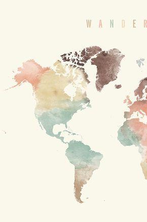 World map, World map poster, Wanderlust, World map wall art, World map print, watercolor travel Map, Large world map, ArtPrintsVicky #worldmapmural