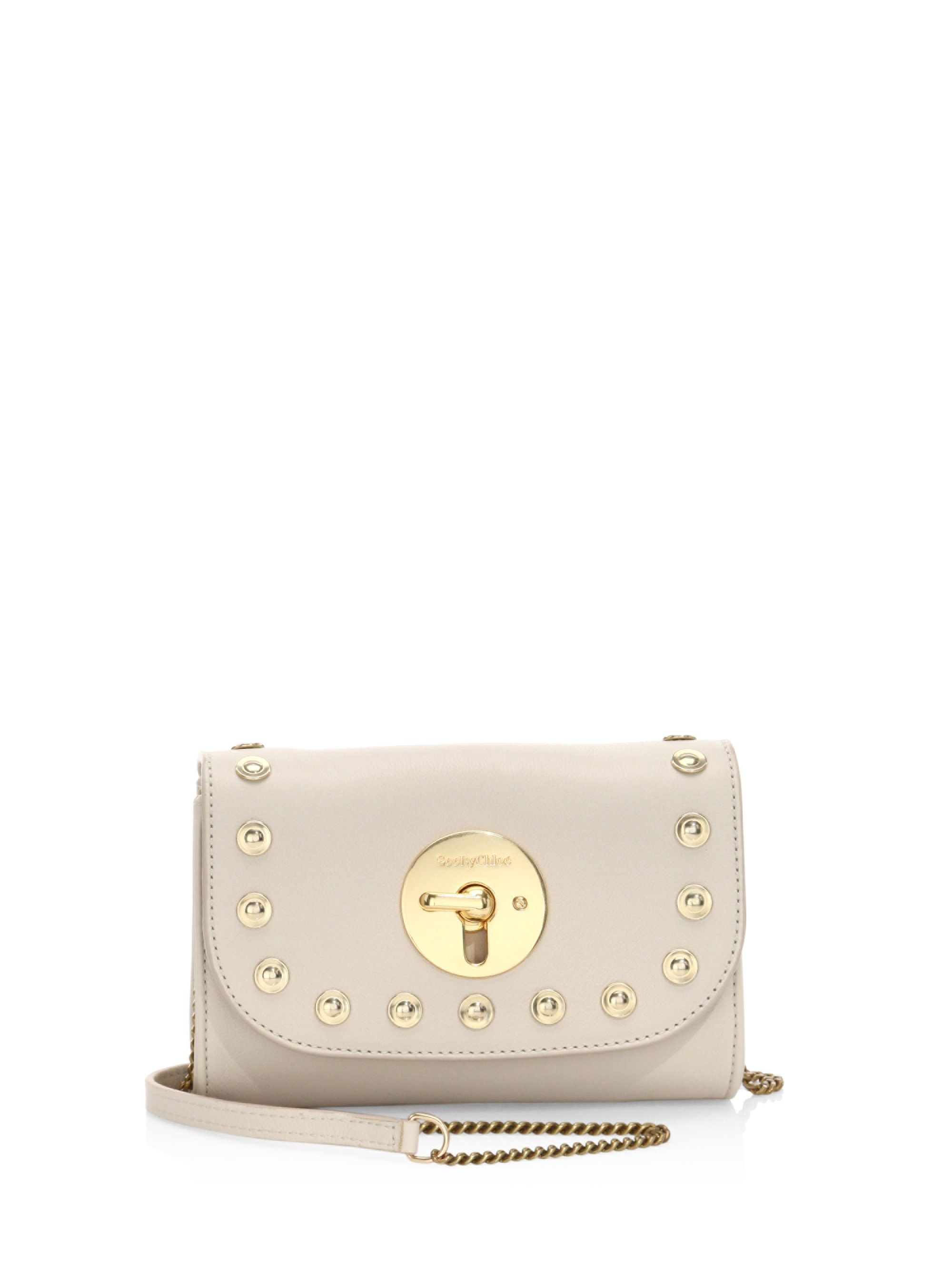 See By Chloé Lois Mini Studded Leather Crossbody - Light Beige One Size 6c91950ac074f