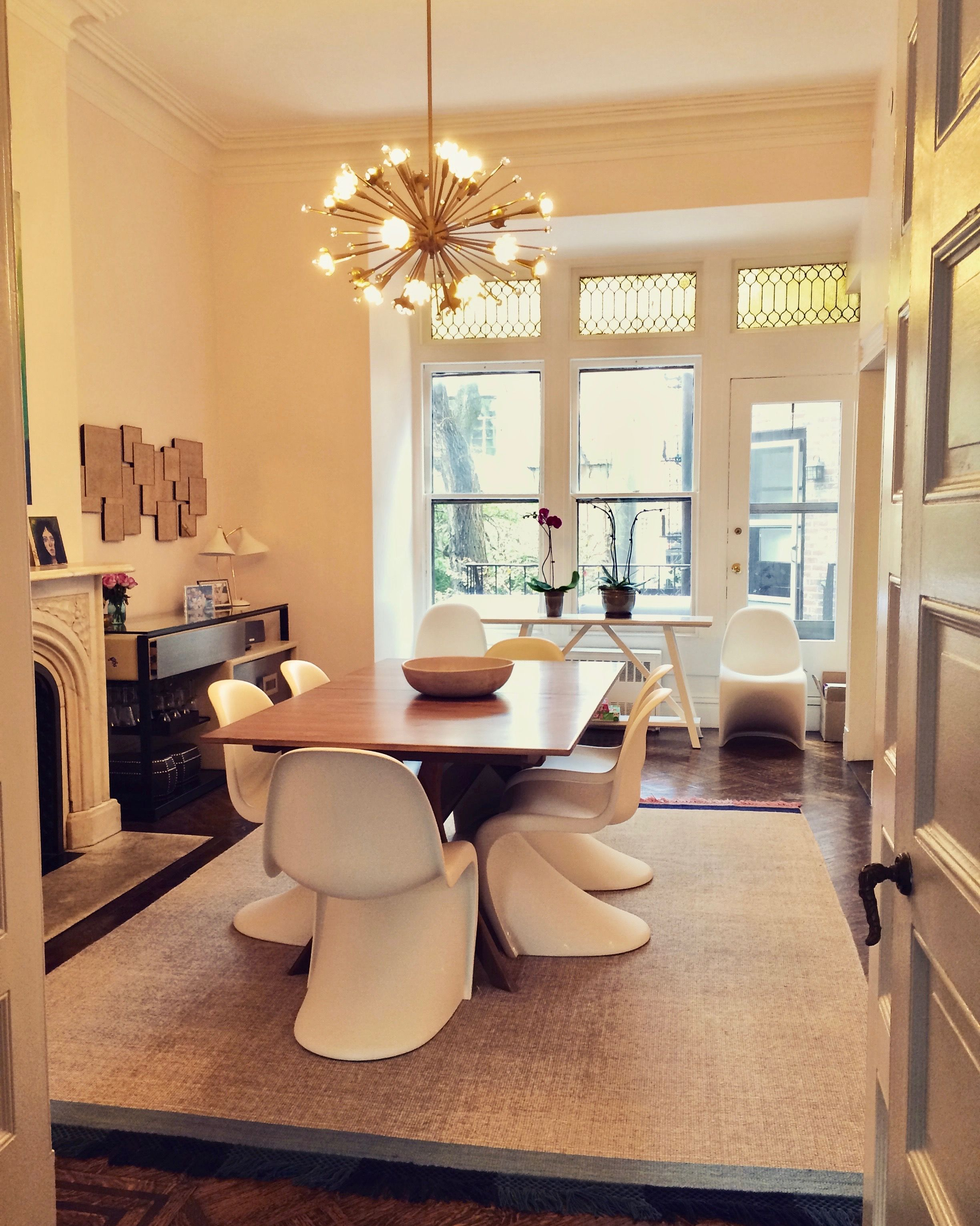 Brooklyn Heights Pink Dining Room With Wood Table And White Panton Chairs,  Anthropologie Rug And