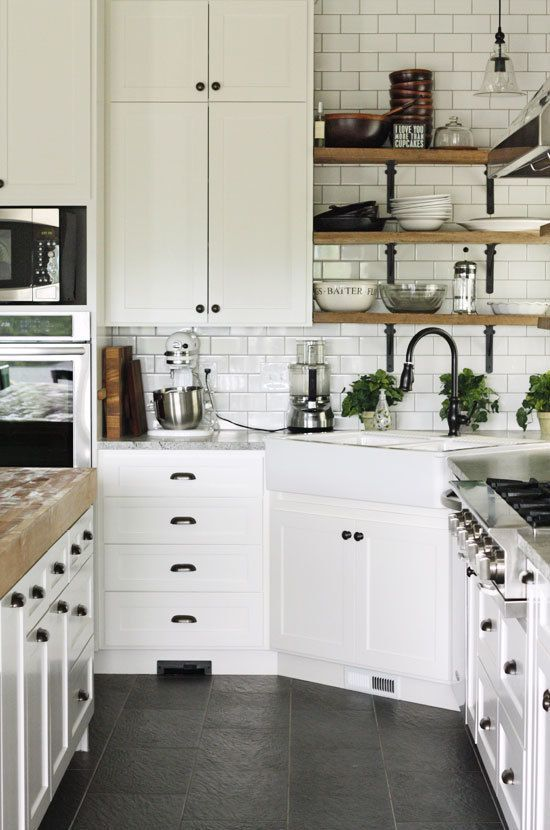 White Kitchen Subway Tile And Exposed Shelves