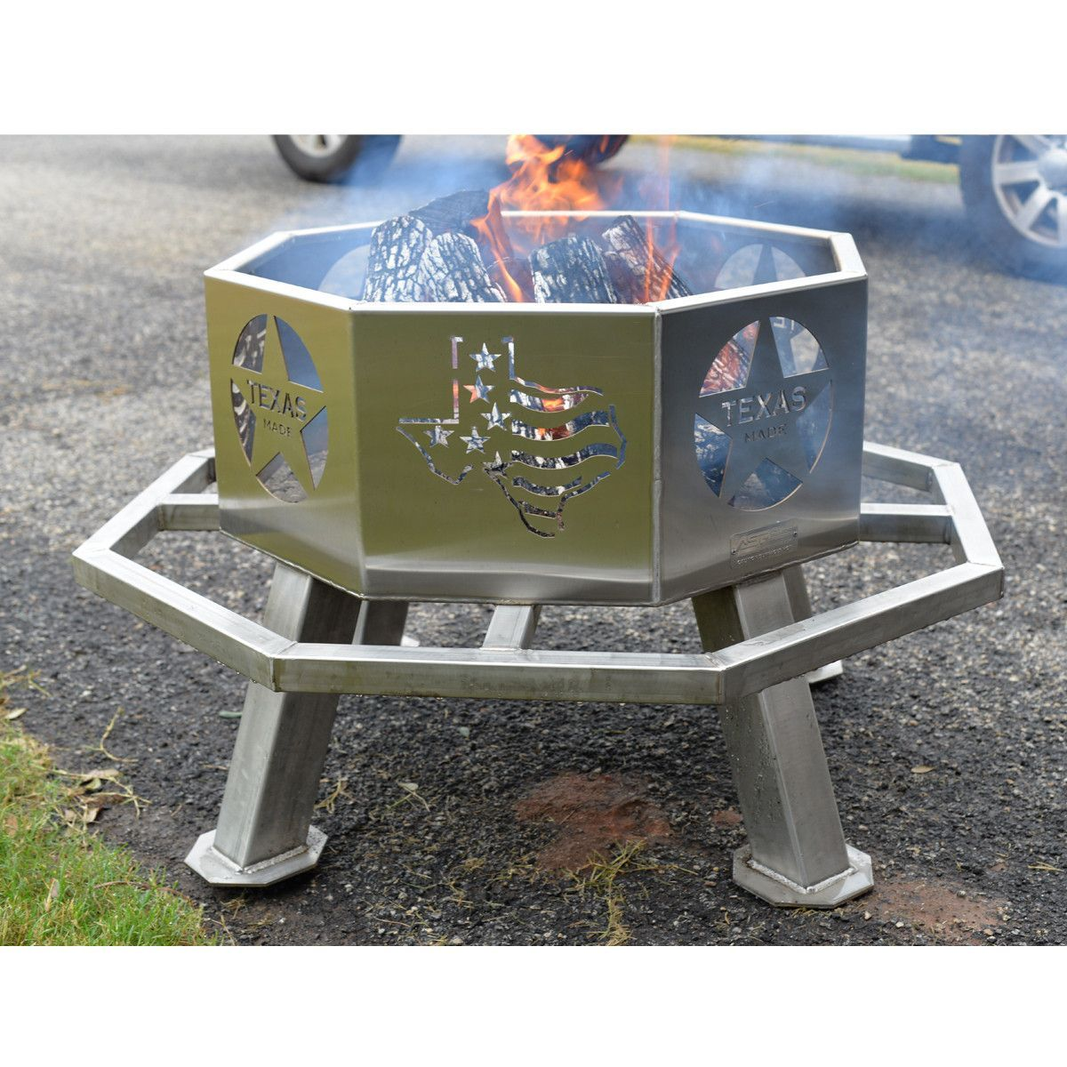 "Great Bbq Pit Set Up For The Backyard Perfect Under The: Stainless 28"" Texas Theme Fire Pit"