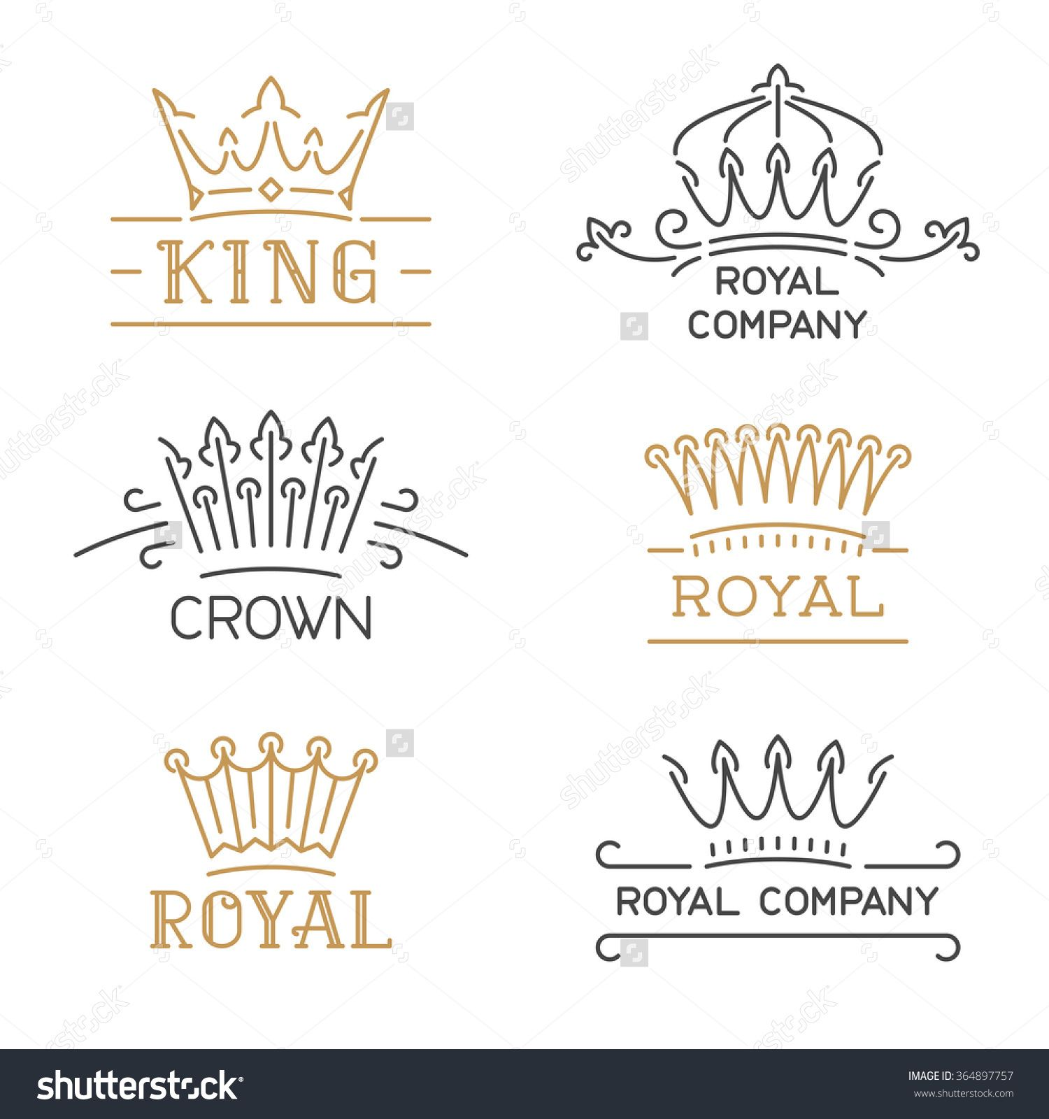 Crown logo set luxury signs in trendy line style vector crown logo set luxury signs in trendy line style vector illustration for hotel stopboris Images