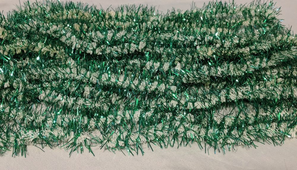 Christmas tinsel garland vintage mcm green and white vintage