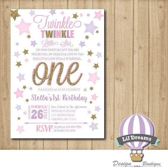 Twinkle twinkle little star Invitation First by LilDreamsDesign