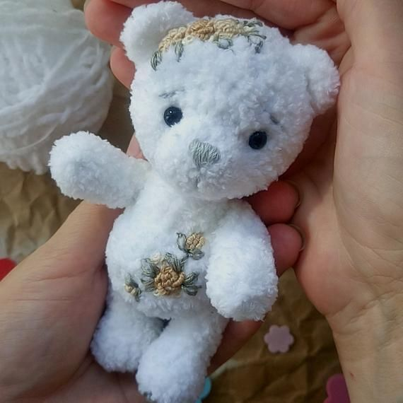 Baby photo prop Bear Softy Toy Mini Teddy Bear Baby shower Miniature Teddy Tinh Crochet Teddy Small White Bear Newborn props Christmas gift #babyteddybear