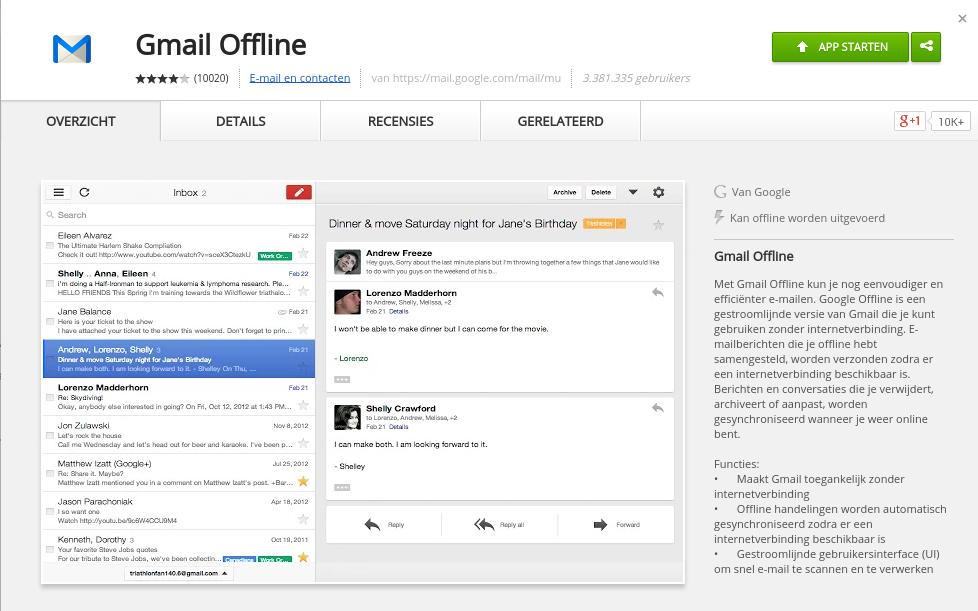 Gmail offline, de app Cloud computing, Apps, Cloud