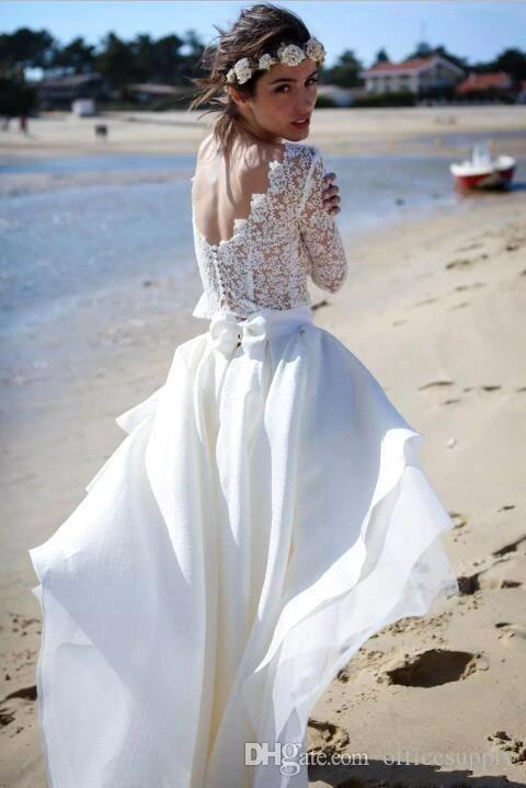 Großhandel 2017 Boho Sommer Strand Brautkleider Weiße Chiffon Spitze ...