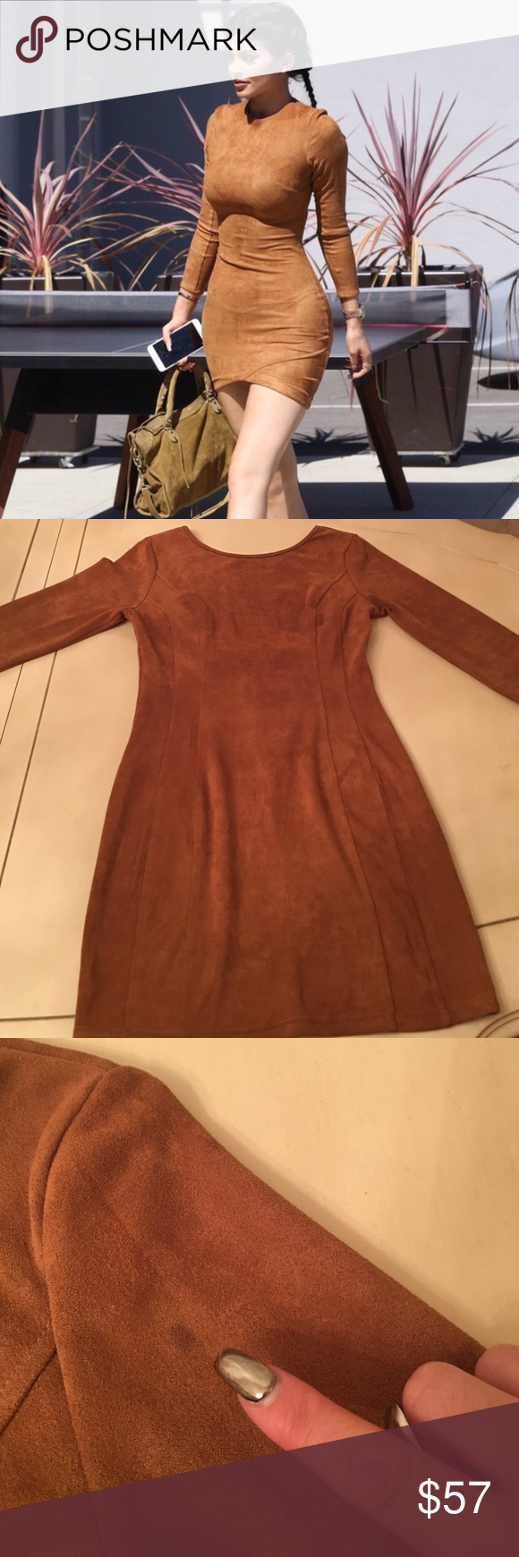 Kylie Faux Suede dress in a medium Kylie Faux Suede Dress in Medium brown. Super cute Kylie Faux Suede dress in chocolate brown. Size medium. Never worn just tried on. Very delicate fabric, small stain may come out, see photo. Hugs your curves. You will love it. Made of Polyester/Spandex. Mini length and deep v back with wiring to keep shape. No Trades🚫 Dresses Mini