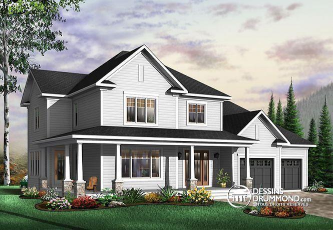W3835 - Maison de style américain, garage double, vestibule, salle à