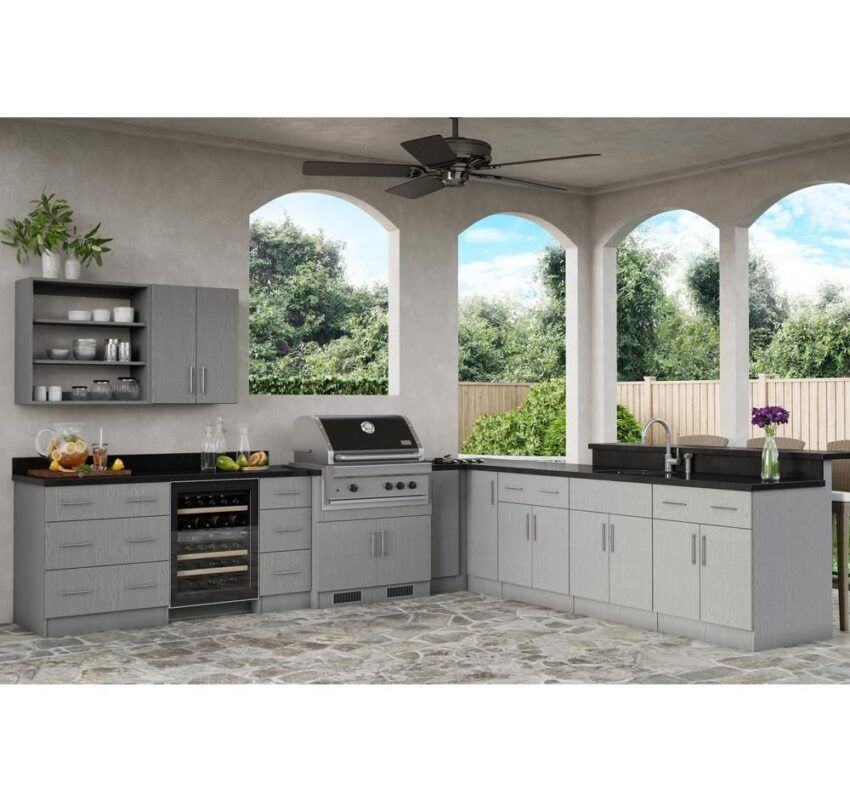 Weatherstrong Cabinets Are Manufactured With A 3 4 In Marine Grade Waterproof Board In 2020 Rustic Outdoor Kitchens Outdoor Kitchen Patio Outdoor Kitchen Design