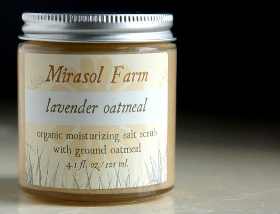 Lavender Oatmeal  organic moisturizing salt scrub by mirasolfarm, $10.00