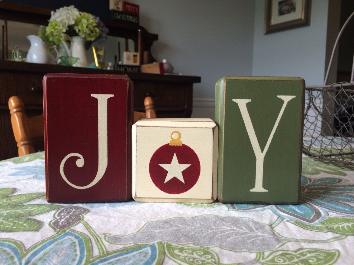 JOY Christmas block set primitive distressed wood blocks country ...