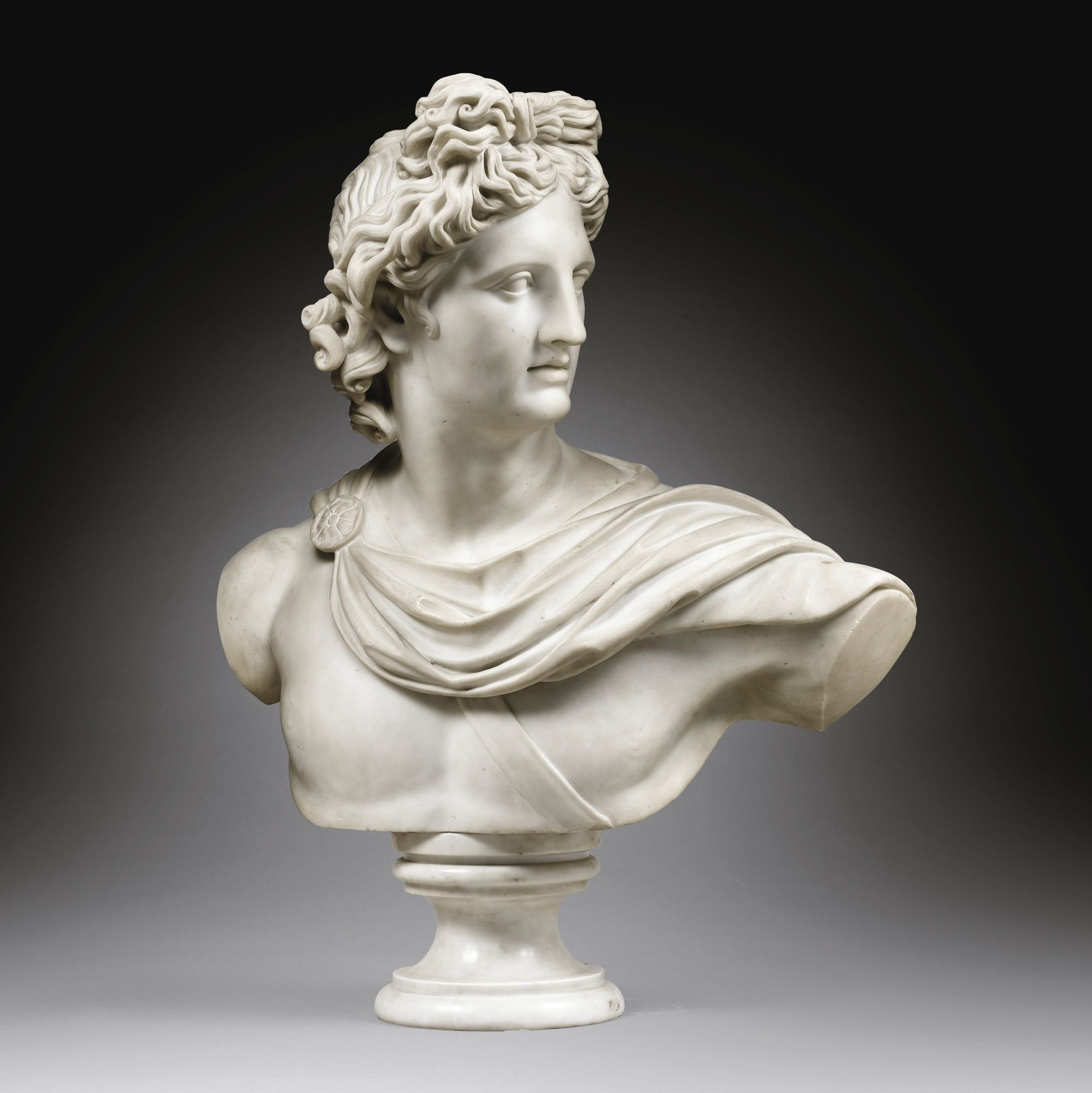 After The Antique Rome Early 19th Century Bust Of Apollo Marble On A Grey Marble Base 82 X 63 Cm 32 1 4 By 24 3 4 In Apollo Statue 19th Century Art Statue