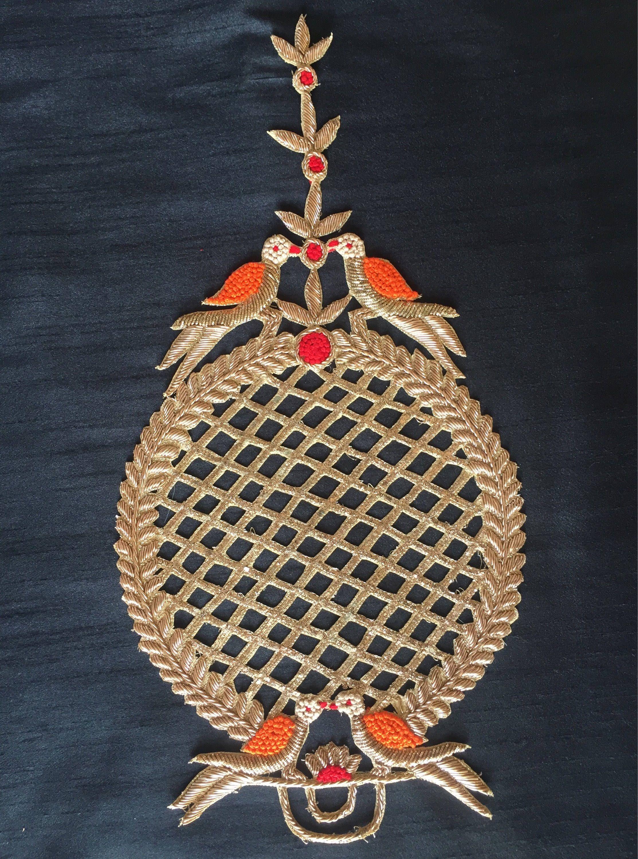 1 Pair Latest Indian Golden Zari Stone Zari Applique//Motif Indian Ethnic style