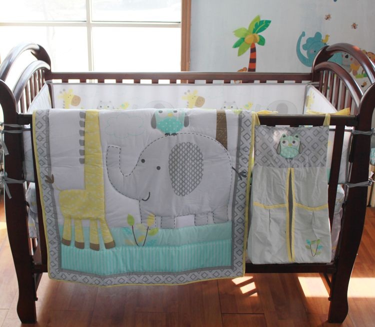8 Pc Crib Infant Room Kids Baby Bedroom Set Nursery Bedding Blue Grey  Elephant Cot Bedding
