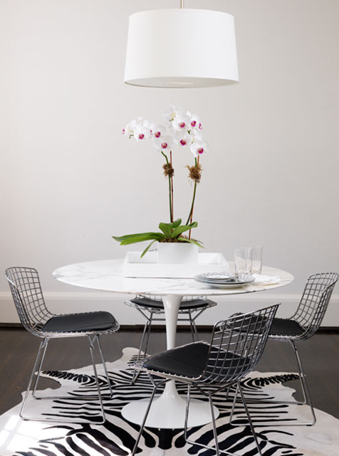 Ferreira Design Modern White Black Dining Space Design With - Black marble tulip dining table