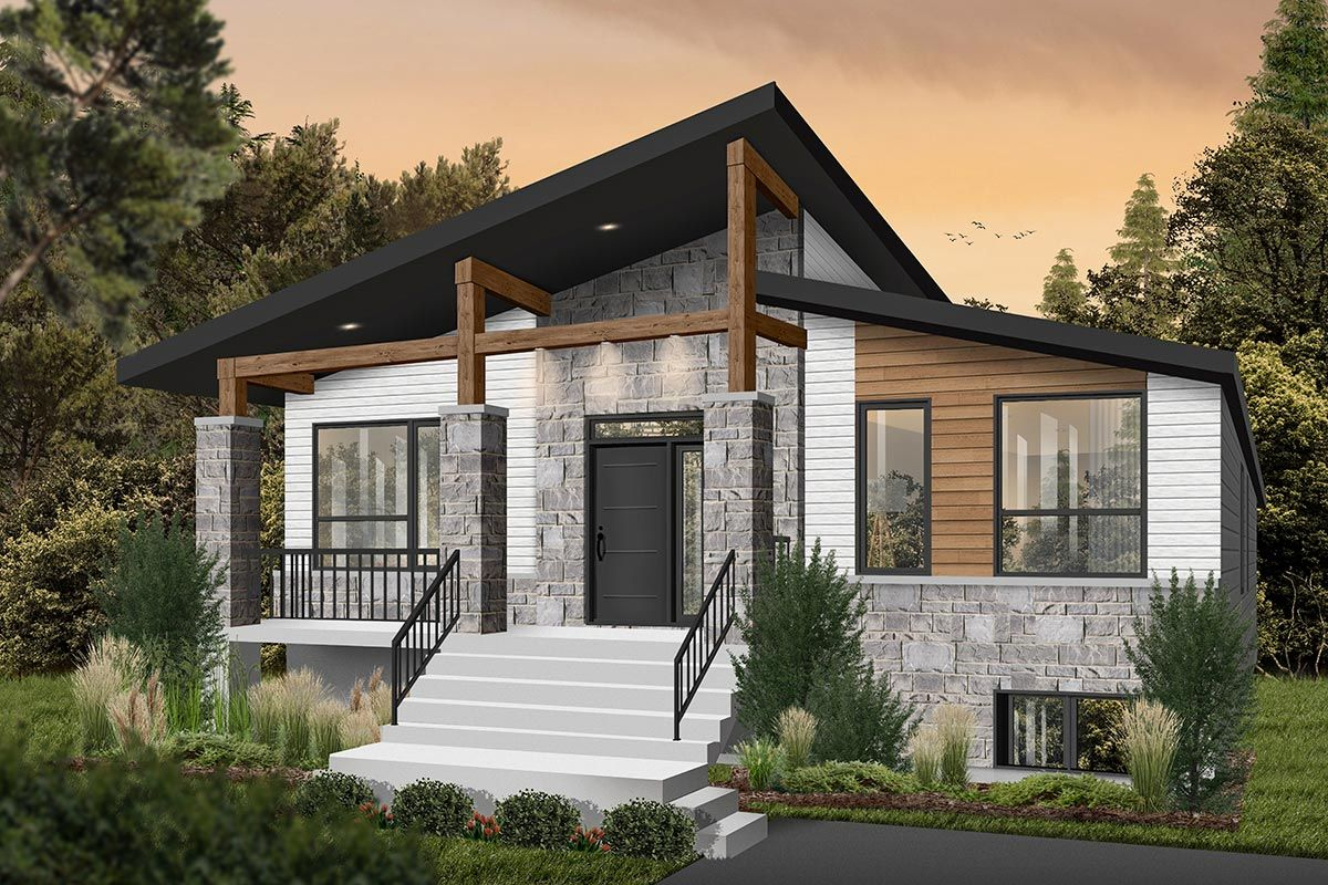 Plan 22563dr Modern Rustic 2 Bed Affordable Home Plan Contemporary House Plans One Storey House Small Farmhouse Plans