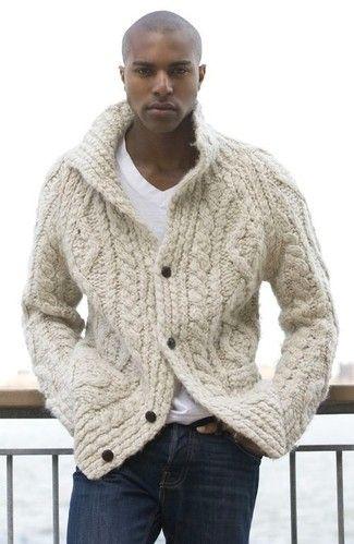 1418e575dd9df Men's White V-neck T-shirt, Navy Jeans, and Beige Knit Cardigan | M ...