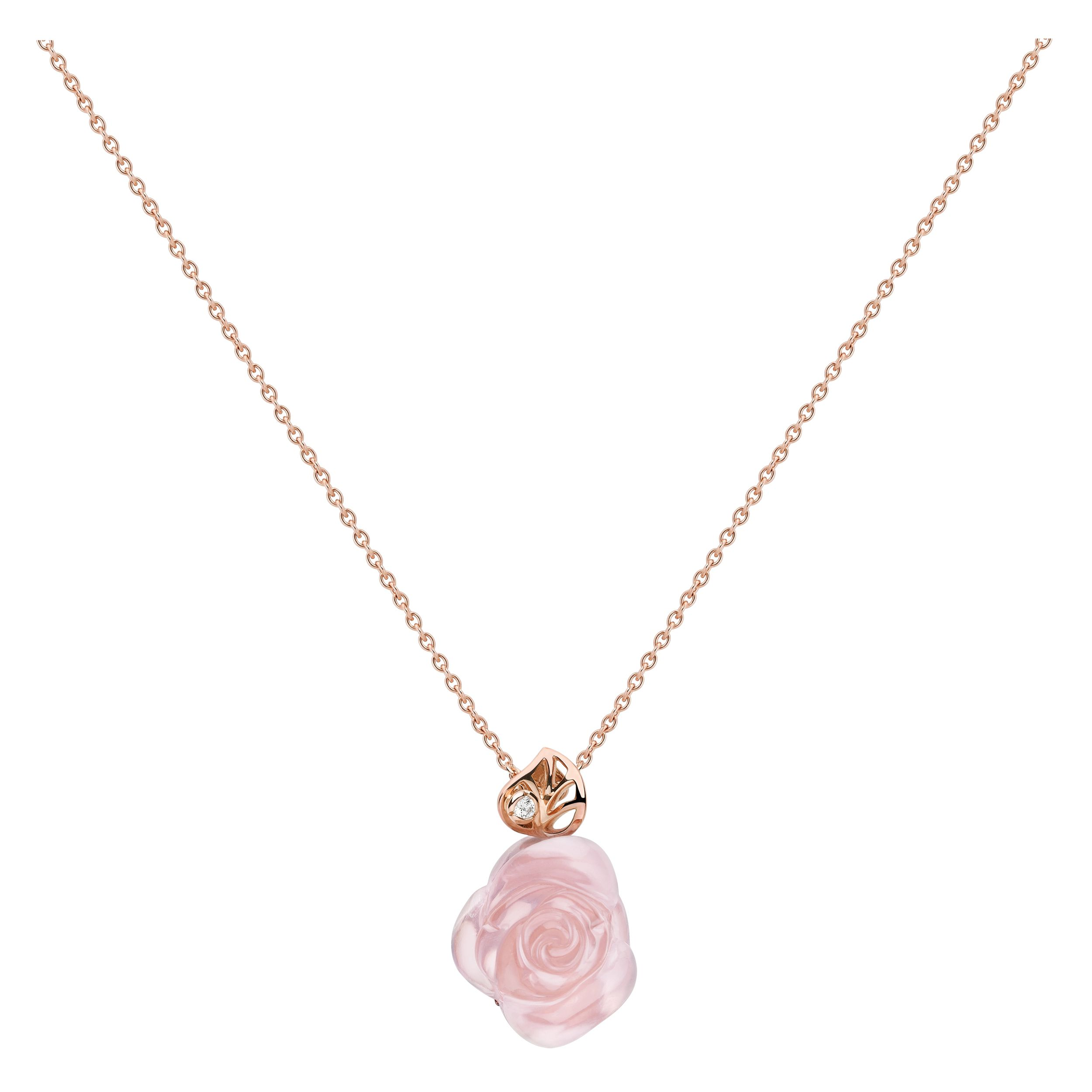 dbe686d7cf ROSE DIOR PRE CATELAN - Necklace in 750/1000 pink gold, diamond and ...
