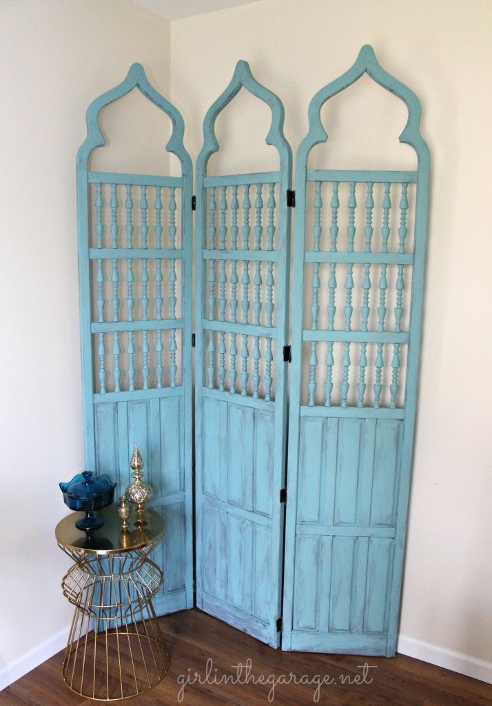 A lovely vintage wooden room divider finished in Provence Chalk Paint® decorative paint by Annie Sloan I By Girl In The Garage