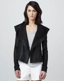 f49f19038a4 T6HFD Vince Hooded Leather Jacket | fabulous fashions | Leather ...