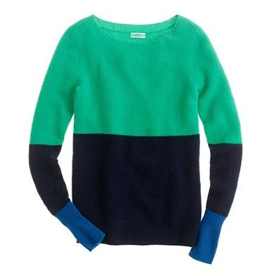 Jcrew Cashmere Waffle Colorblock Sweater...  a simple statement sweater!