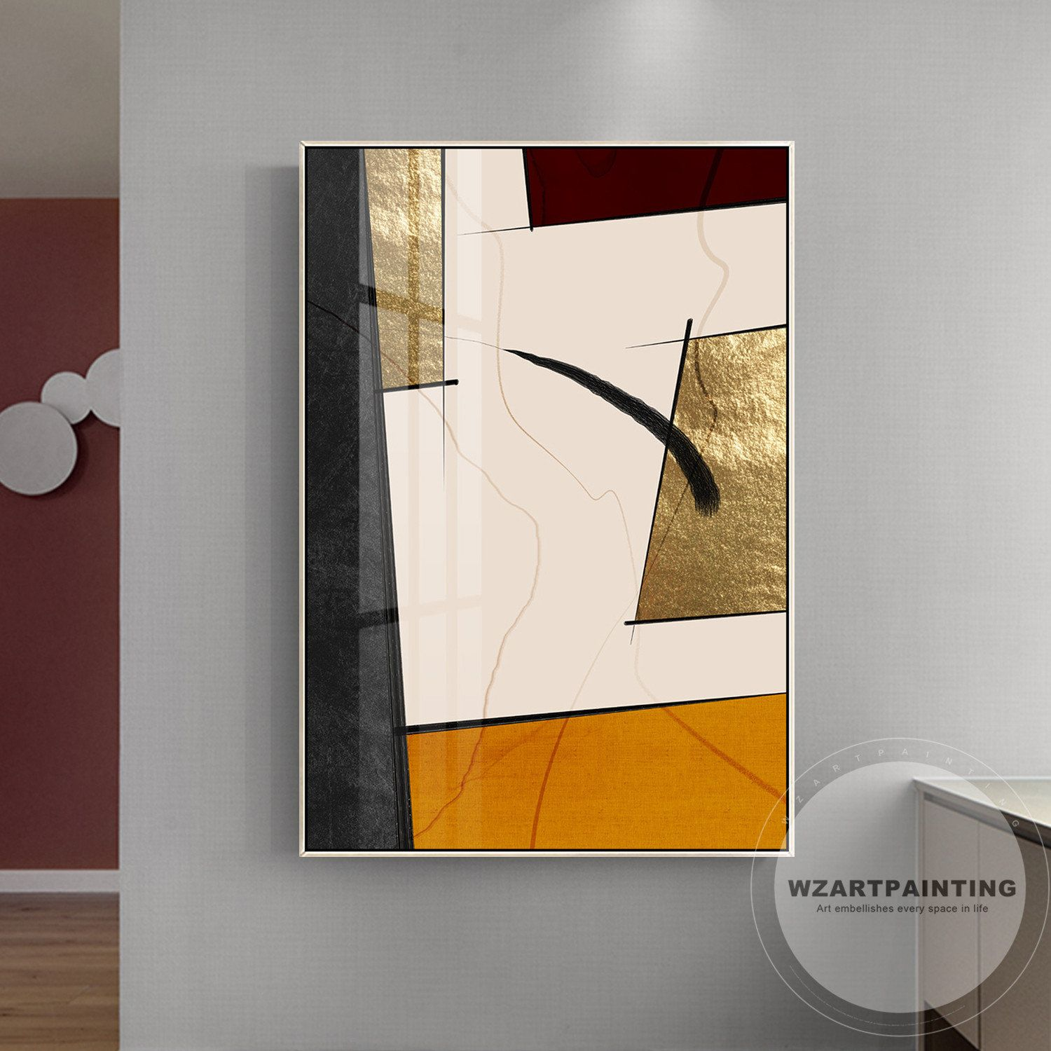 POLYGONAL METAL ABSTRACT ROSE GOLD MODERN CANVAS PRINT WALL ART PICTURE