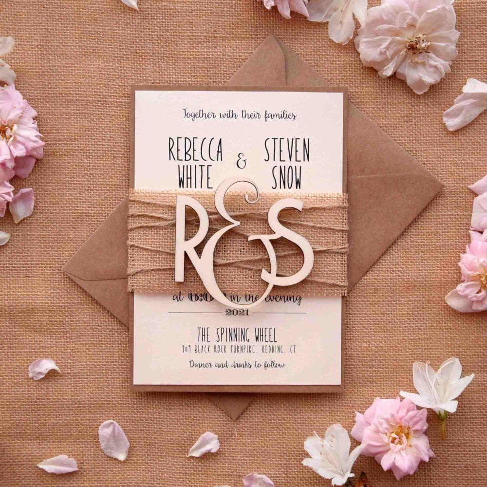 Wooden Monogram Wedding Invitations Wedding invitation