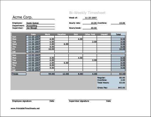printable bi weekly time sheets free