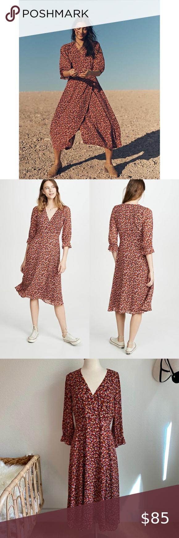 Madewell Ruffle Sleeve Crossover Midi Dress Midi Dress Ruffle Sleeve Spring Dresses [ 1740 x 580 Pixel ]