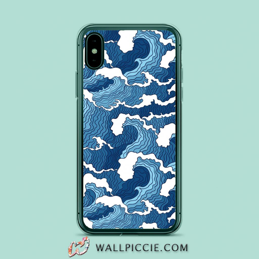 Blue Wave Aesthetic iPhone XR Case, iPhone 8, iPhone 6s