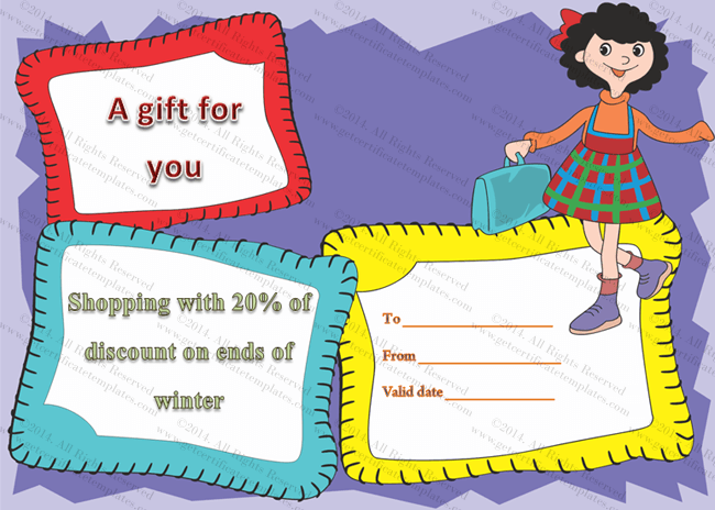 Jazzy shopping gift certificate template beautiful for Shopping certificate template