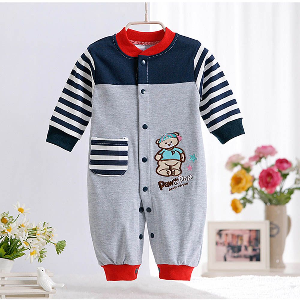 711d41fd0 Spring Autumn New Cute Animal Pattern Baby Rompers Boys Girls Long ...