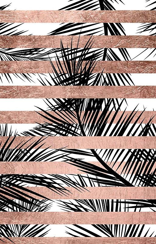 Trendy Tropical Palm Trees Chic Rose Gold Stripes Iphone Case By
