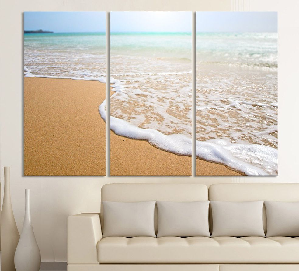 Large Wall Art Wave On The Beach Canvas Print 3 Panel Wall Art