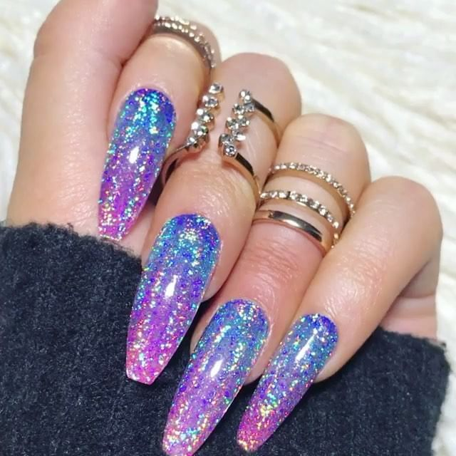 Repost Victoriaoliviaxo Nail Throwback Press On Nails By Tres She Style Is Long Coffin Galaxy Holo Tre Glittery Nails Press On Nails Holo Nails