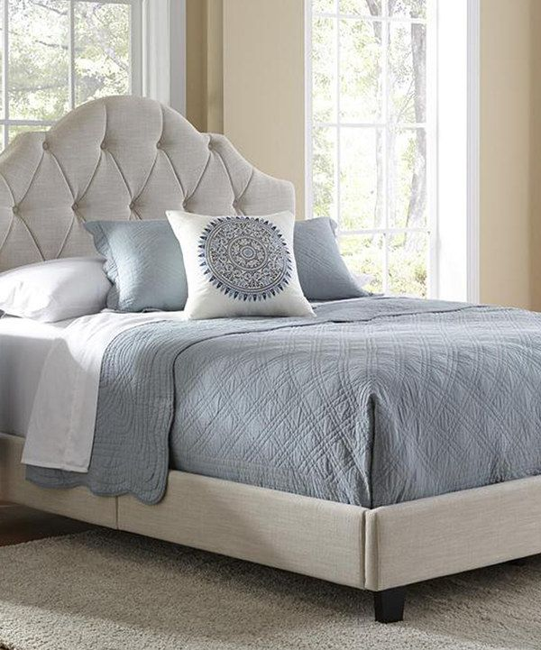Look At This Cream Upholstered High Back Full Queen Bed Frame On
