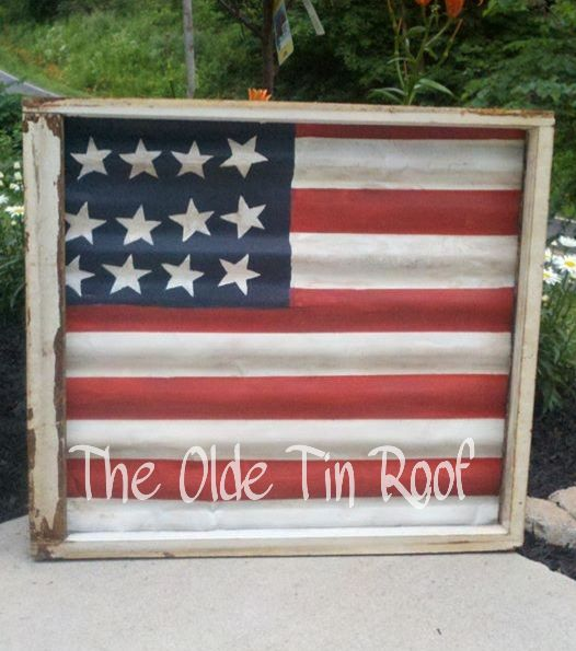 12e35df2fe2d Old American Tin Flag. Salvaged chippy window used to frame old painted  roof tin.