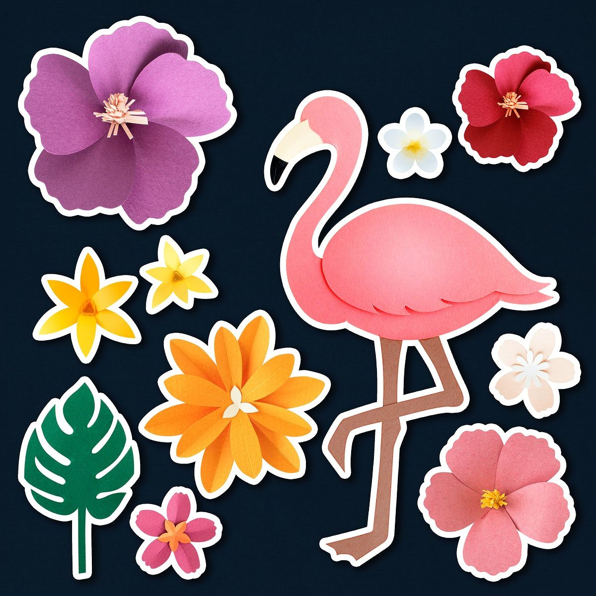 Download Premium Psd Of Pink Flamingo Paper Flower Sticker Psd Set 2468895 In 2020 Pink Flamingos Paper Flowers Paper Crafts