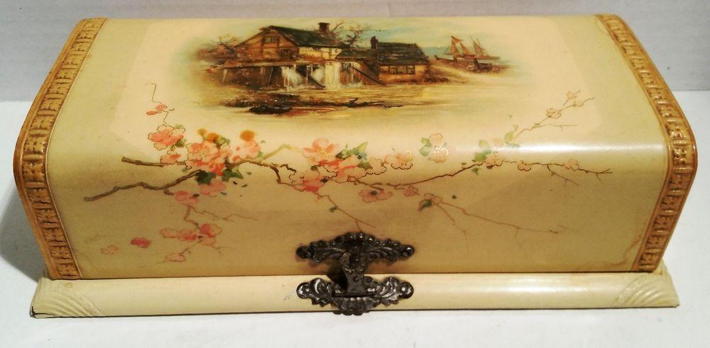 Beautiful Victorian Celluloid Victorian Vanity Dresser Box w/Brush & Comb