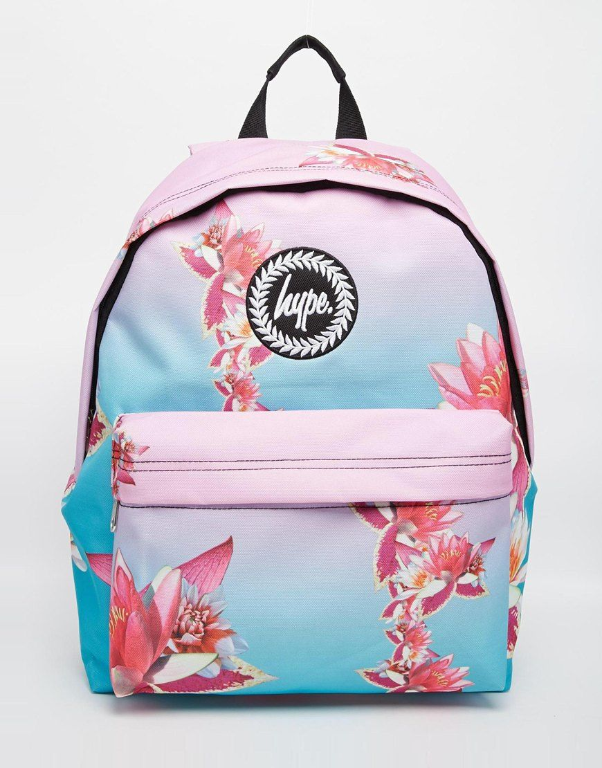 Hype Backpack in Pink and Blue Ombre with Digital Flower Print ...