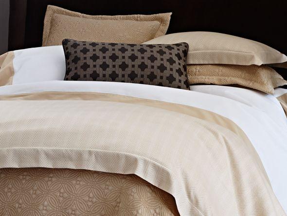 Peacock Alley Corsica Queen Duvet Cover NIP Herringbone Brown Beige Cotton