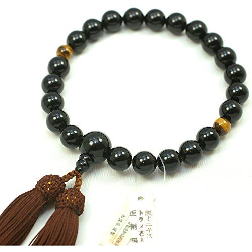"""Newstone Kyoto-made Ojuzu Buddhist Prayer Beads, 12mm Black Onyx and 10mm Tiger Eye with Genuine Kyoto Silk Tassel, Japanese Buddhist Rosary. Japanese Traditional Buddhist Prayer beads. One of best sellers on Amazon.co.jp. 3 inch long """"noble"""" color and genuine silk tassel from Kyoto, , matching the rosary stones. Hand made by our 40 years experienced Japanese Rosary Craftmen in Kyoto, Japan. MADE IN JAPAN , MADE IN KYOTO."""